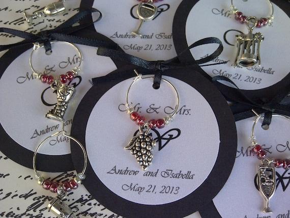 Custom Wine Themed Wine Charm Favors Weddings Bridal