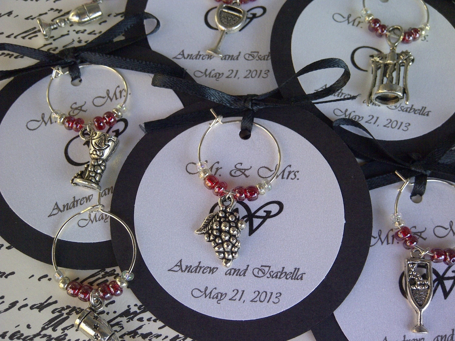 Custom wine themed wine charm favors weddings bridal for Wedding party accessories