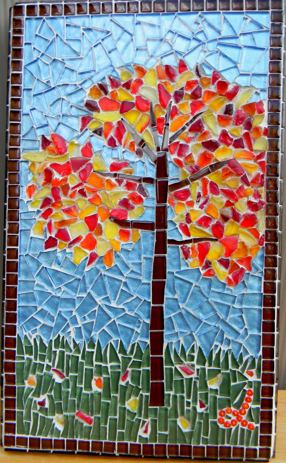 Mosaic Art Autumn Tree