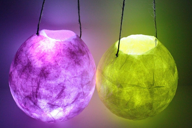 Hanging paper lantern faerie lights small paper mache for How to make paper mache lamps