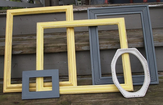 Picture Frame Collection Vintage Upcycled Grey Yellow White