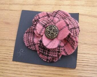 Pink plaid wool flower pin