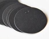 20 Round Black Tags. 4.8cm Diameter. Paper. Blank. Hang tag. Retro. Gift Tag. Gift Wrapping. Product Tag (Cord Included)
