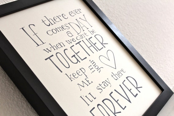 Quote Typography Poster, Inspirational Art Print, Disney quote poster TOGETHER FOREVER -Winnie the Pooh-