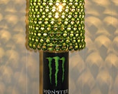 Upcycled Lamp Made From Monster Energy Drink Can With Bright Metallic Green Anodized Tab Lamp Shade *Heirloom Quality*
