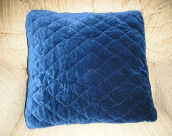 Quilted Blue Velvet Pillow