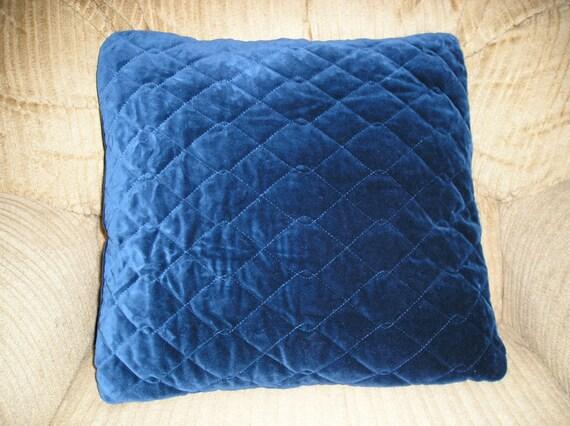 Quilted Blue Velvet Pillow
