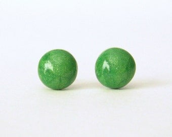 Emerald green studs, green earrings, small post earrings, green stud earrings