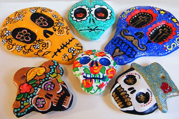 Lot of 6 Dia de los Muertos Day of the Dead Sugar Skull Magnets or Tree Ornaments - Hand Made