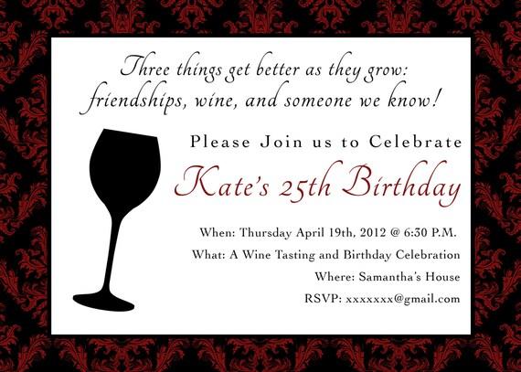 Printable Birthday Party Invitation 5 X 7 Wine Themed