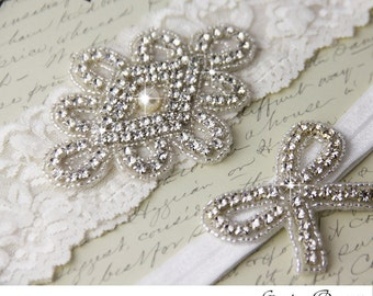 Wedding garter set, Light Ivory stretch lace Bridal Garter set, Rhinestone and Crystal garters