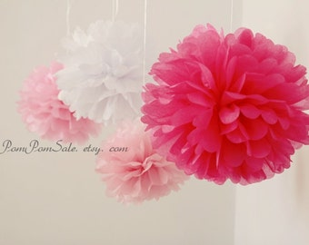 SALE - It's a Girl - 8 Tissue Paper Pom Poms - Tissue pompoms, Fast Shipping - Wedding / Baby Shower / Birthday Party / Nursery Decoration
