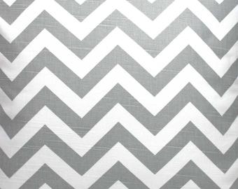 Ash Gray / Grey and White Chevron ZigZag Slub Fabric - One Yard - Premier Print Fabric