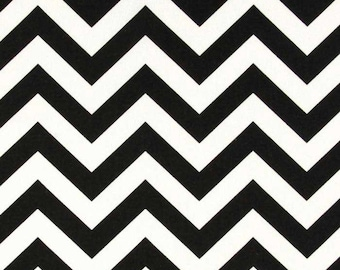 Black and White Chevron ZigZag - One Yard - Premier Prints Fabric - Home Dec Fabric
