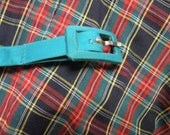 Vintage 1950's short sleeve Dress & Matching Belt  - XL/2XL Red, Blue and Aqua Green Plaid - 100% Cotton