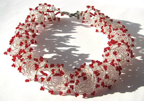 White and red oglala lace bridal necklace, statement jewelry, beadwoven necklace