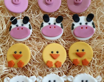 Edible Fondant Cupcake, Cookie Toppers- Farm Animals