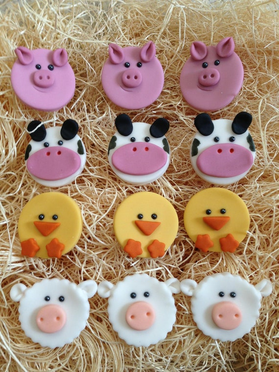 Edible Fondant Cupcake Cookie Toppers Farm Animals