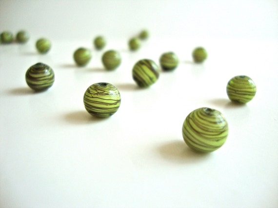 4 pcs Super Mini Lampwork Glass Beads - Round Lime Green with Black Stripes, 0.31 inches or 8mm