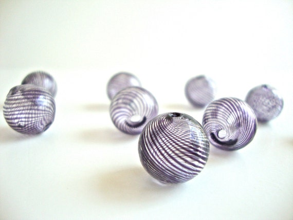 2 pcs Handblown Hollow Glass Beads - Round Clear with Dark Purple Stripes, 0.5 inches or 13mm, Blown Glass Beads