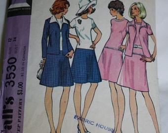 McCall's 3530 sz 12 Pattern for Drop Waist Dress