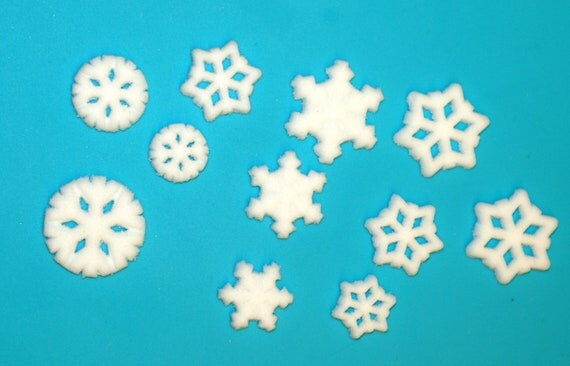40 White, Sugar Snowflakes for cake, cupcake, or cookie decorating