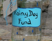 Christmas in July CIJ Rainy Day Fund  Painted Glass Jar Rain Drops money jar change jar tip jar recycled upcycled eco summer fall home decor - FeathandKee