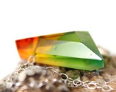 Multicolor Tiny Gemstone made of Glass - Painterly Rainbow Shades - Fused Glass Jewel Pendant Necklace No. 39
