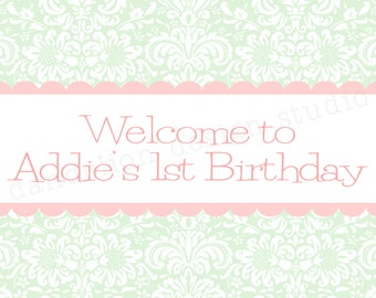 PRINTABLE Welcome Sign - Shabby Chic Party Collection - Dandelion Design Studio