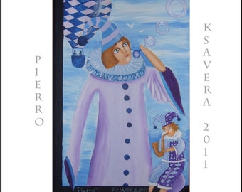 "Commedia dell arte Clown Small Painting circus ""Pierrot"" KSAVERA 8x12 lilac blue violet lavender hot air balloon Contemporary Art Nouveau"
