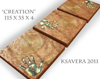 """Gold Textured art tryptic triptych textured paintings on canvas KSAVERA """"Creation"""" 14x46x1,6 Original Hand set of 3 canvas"""