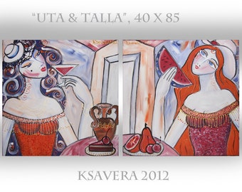 "Contemporary Portrait Painting Beautiful Woman Modern Art KSAVERA ""Talla & Uta"" 16x34 Original Erotica Lady Girl mid century Two best friend"