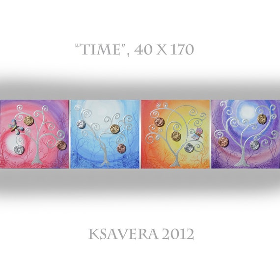 """Original Landscape Large Abstract Painting Tree of life KSAVERA """"Time of day"""" 16x68 Floral mixed media collage Art Nouveau World Modern"""