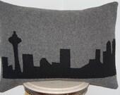 CUSTOM Woolen Colors Seattle Skyline Silhouette Space Needle Wool Throw Pillow Handmade Upcycled Vintage Blanket 18 x 26 INCH