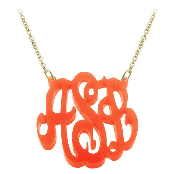 """1 1/2 """" wide Acrylic Monogram with Gold plated over Silver chain-Order Initials of YOUR choice ZC90832L-AC-GPSS"""
