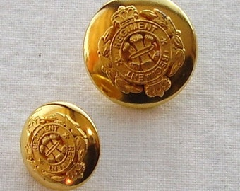 TWO GOLD ESCADER   Military Buttons