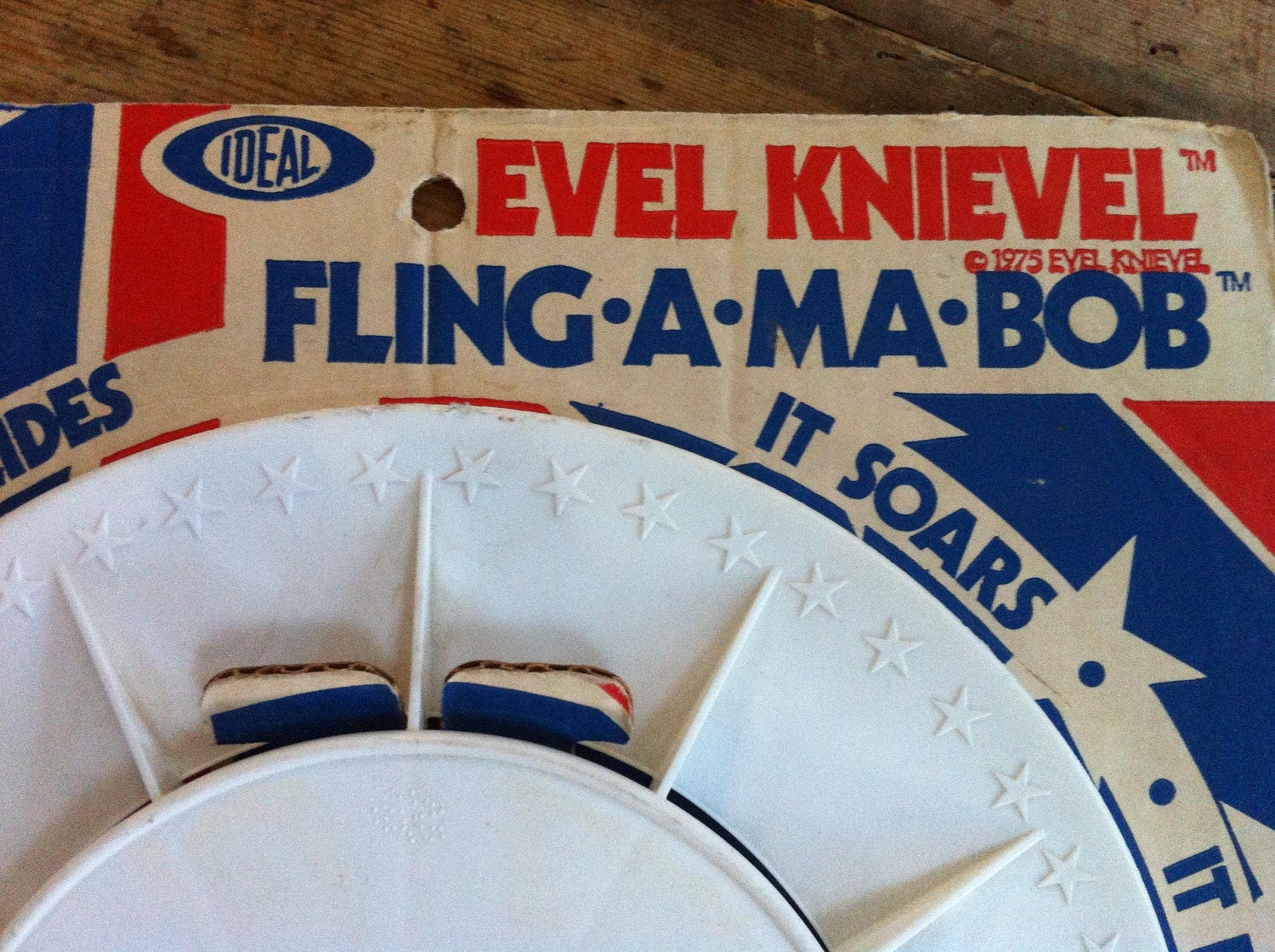 1975 vintage evel knievel frisbee toy by itsbsbooty on etsy. Black Bedroom Furniture Sets. Home Design Ideas