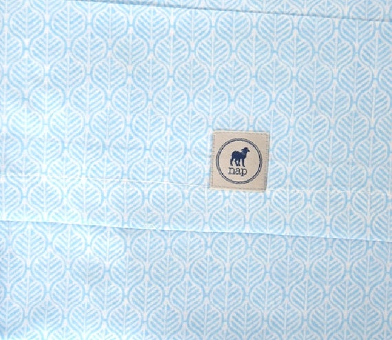 Changing Pad Cover, 100% Cotton, BABY BLUE LEAVES