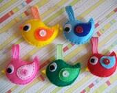 Bird ornaments, bird decoration, felt birds - Baby shower favors, party favors, Spring decoration