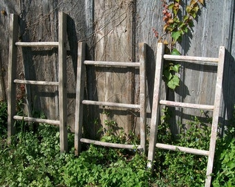"""Antique Wood Ladder with 3 Rungs - 36"""" long - Choose a Vintage Surface or Pick a Color"""