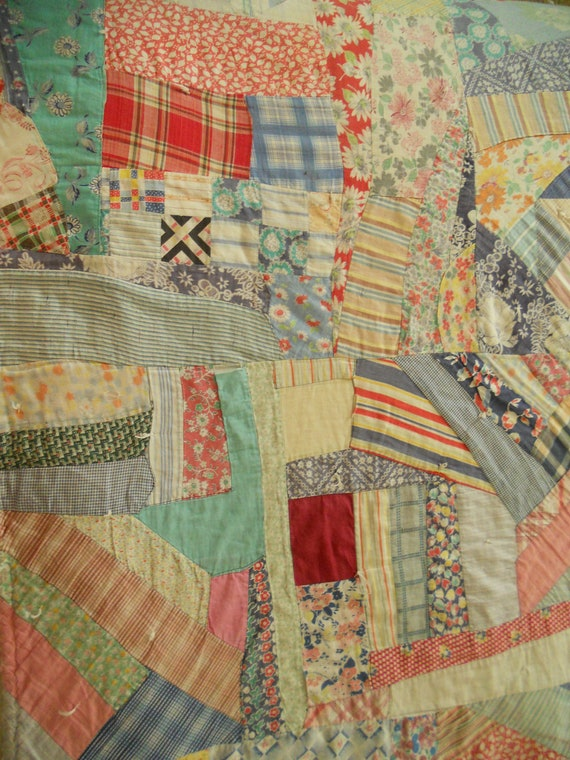 1930 S Flour Sack Crazy Quilt One Of A Kind By Curiosityowl