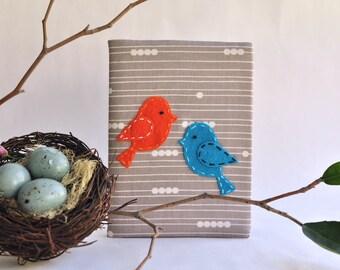 LOVEBIRDS 4x6 Photo Album: Grey Organic Fabric by Birch, Blue & Orange Bird Applique