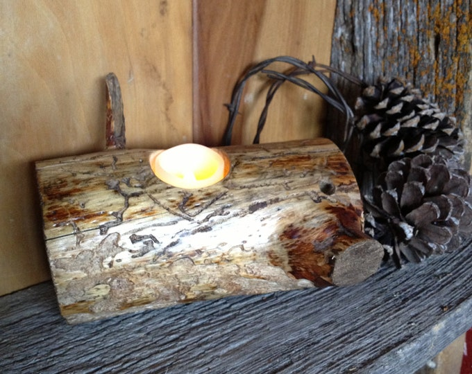 Candle Holder, Pine Wood Candle Holder, Rustic Candle Holder, Beetle Kill Candle Holder, Votive Candle Holder, Flameless Candle Holder