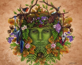 Greenman  -  Pagan Wiccan Print - Brigid Ashwood