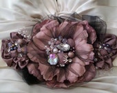 Mauve Flower Bridal Sash 'The Amanda'