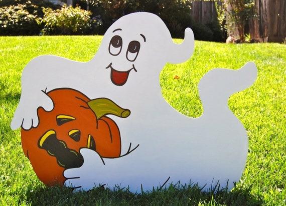 Ghost Holding Pumpkin Halloween Decoration