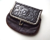 Vintage change purse, advertising, ancient coin decoration, Wheeler Wilson sewing machines