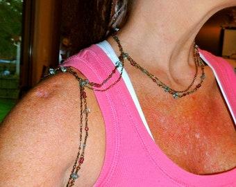 Aqua & plum bronze chain shoulder harness, body chain jewelry
