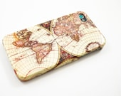 Vintage Old Retro World Map iPhone 4 Case, iPhone 4s Case, iPhone 4 Cover, Hard iPhone 4 Case - antique map