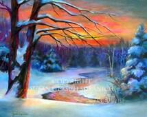 """Art Print  """"Cedar River Sunset"""" colorful sunset winter landscape painting 11 x 14 -  Susan Gersch Supanich"""